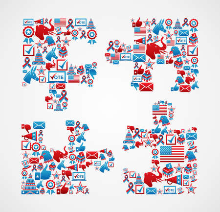 elections: USA elections icon set in jigsaw piece shape.  file layered for easy manipulation and custom coloring.