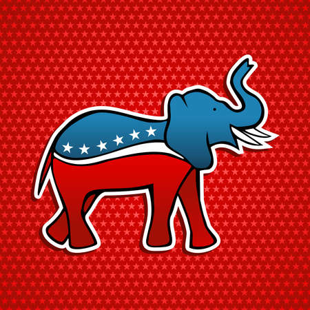political rally: USA elections Republican party elephant emblem in sketch style over red stars background. file layered for easy manipulation and custom coloring. Illustration