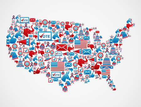 laptop silhouette: USA elections icon set in national map shape.  file layered for easy manipulation and custom coloring. Illustration