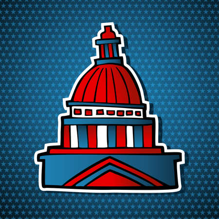 political rally: USA elections capitol building facade icon in sketch style over blue stars background.  file layered for easy manipulation and custom coloring.