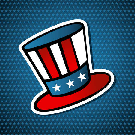 political rally: USA elections uncle Sam hat icon in sketch style over blue stars background. file layered for easy manipulation and custom coloring.
