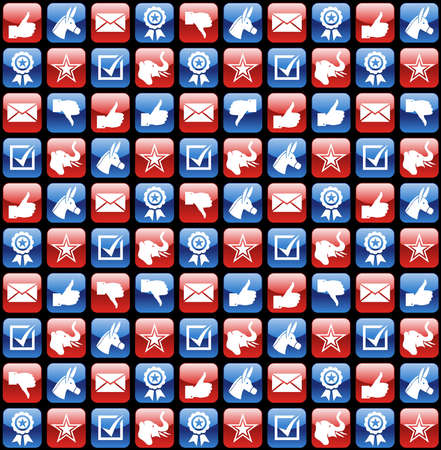 political rally: USA elections glossy web icon set seamless pattern background. file layered for easy manipulation and custom coloring.