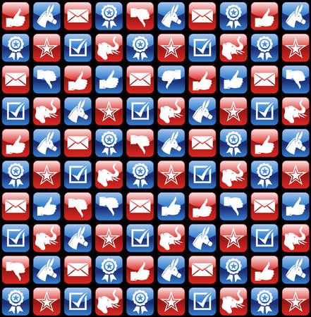 endlos: USA Wahlen glossy Web-Icon-Set nahtlose Muster Hintergrund. Datei für eine einfache Handhabung und individuelle Färbung geschichtet.