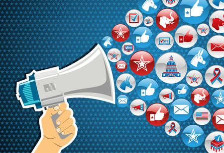 Amerikaanse verkiezingen politiek marketing communicatie: hand die een megafoon met pictogrammen splash achtergrond. bestand gelaagd voor gemakkelijke manipulatie en aangepaste kleuren. Vector Illustratie