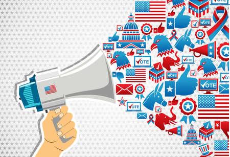 political rally: Stati Uniti le elezioni politiche di marketing della comunicazione: mano che tiene un megafono con le icone splash.file a strati per una facile manipolazione e la colorazione personalizzata. Vettoriali