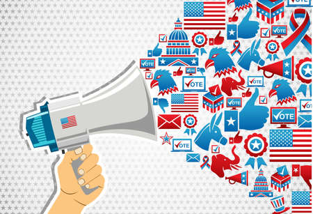 US elections politics marketing communication: hand holding a megaphone with icons splash.file layered for easy manipulation and custom coloring. Vector