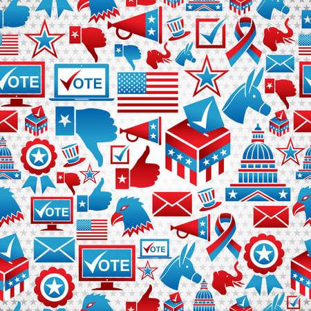 political rally: Выборы в США набор иконок бесшовного фонового рисунка. многослойный файл для облегчения работы и пользовательские окраски. Иллюстрация