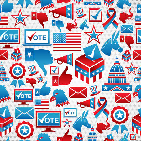 political rally: USA elections icon set seamless pattern background.  file layered for easy manipulation and custom coloring.