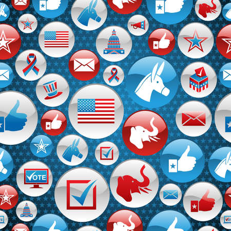 political rally: USA elections glossy buttons icon seamless pattern background.  file layered for easy manipulation and custom coloring.