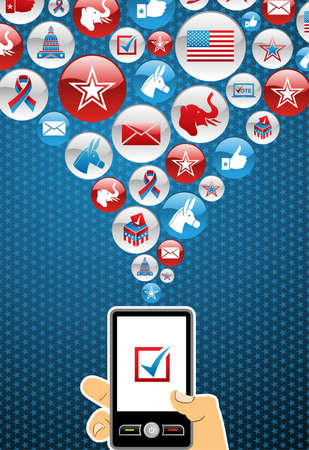 political rally: US elections online voting: hand holding a smartphone with glossy icons splash background. file layered for easy manipulation and custom coloring.