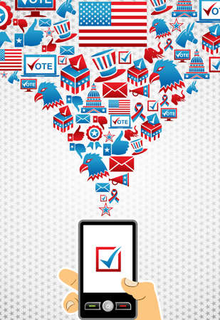hold up: US elections online voting: hand holding a smartphone with icons splash background.  file layered for easy manipulation and custom coloring. Illustration