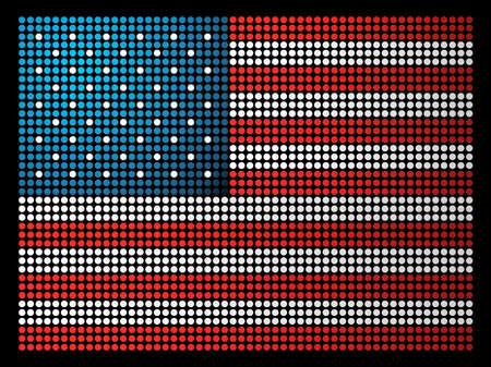 USA dotted led flag illustration.  file layered for easy manipulation and custom coloring.