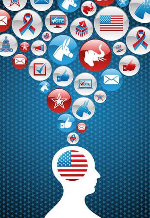 political rally: Elezioni USA voto testa dell'uomo con il file splash sfondo icone a strati per una facile manipolazione e la colorazione personalizzata