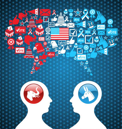Democratic and  Republican social networks political rally  USA elections discussion  two men facing heads with icons speech bubbles  file layered for easy manipulation and custom coloring  Vector