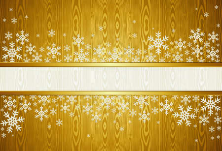 Golden Christmas background with snowflakes  illustration layered for easy manipulation and custom coloring  Stock Vector - 15602812