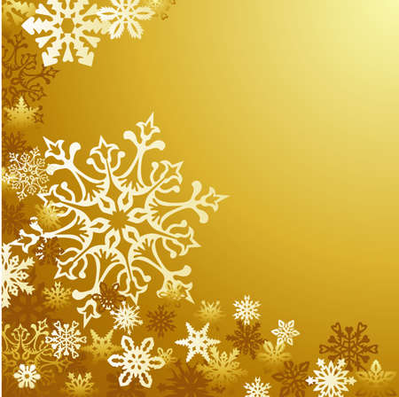 holiday background: Golden Christmas snowflakes background
