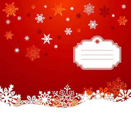 happy holidays text: Red Christmas snowflakes greeting card background