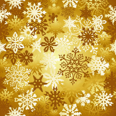 Golden Christmas snowflakes seamless pattern background Stock Vector - 15868673