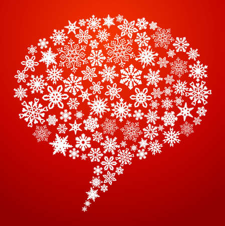 Christmas snowflakes social media networks speech bubble. illustration layered for easy manipulation and custom coloring. Vector