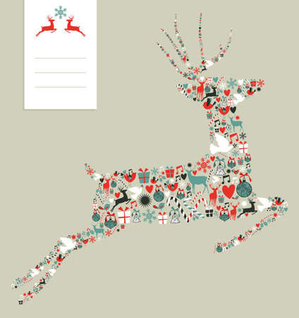 Christmas icons set in jumping deer greeting card background.  illustration layered for easy manipulation and custom coloring. Vector