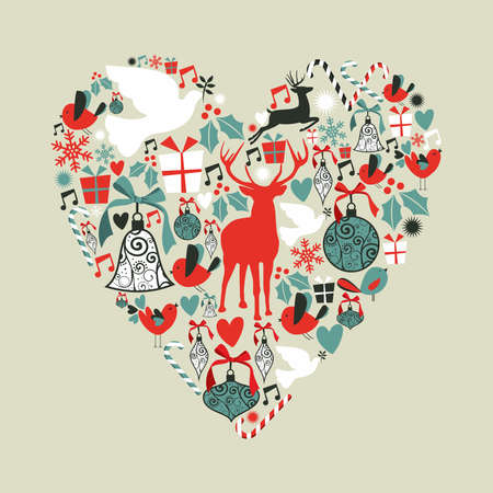 Christmas icons set in love heart shape greeting card background.  illustration layered for easy manipulation and custom coloring. Vector