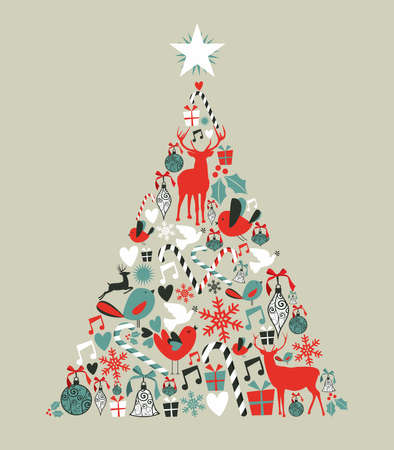 Christmas icons in pine tree shape greeting card background.  illustration layered for easy manipulation and custom coloring.
