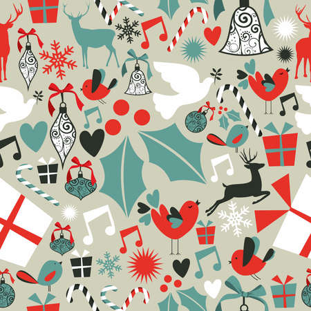 seasonal symbol: Christmas icons set seamless pattern background. illustration layered for easy manipulation and custom coloring. Illustration
