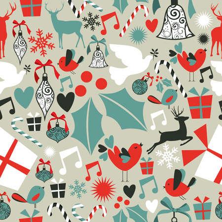 simbolo paz: Iconos de la Navidad fijado patrón de fondo sin fisuras. ilustración en capas para una fácil manipulación y coloración personalizada.