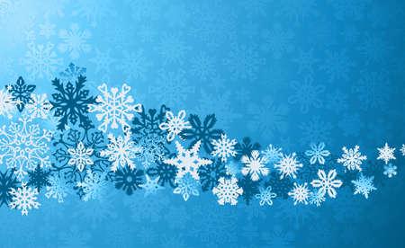 neige qui tombe: Bleu flocons de neige de No�l arri�re-plan. illustration en couches pour une manipulation ais�e et la coloration personnalis�e.