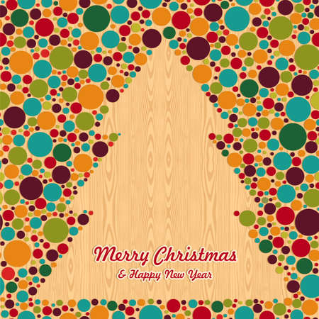 Abstract Christmas circle tree over wooden background greeting card.  illustration layered for easy manipulation and custom coloring. Stock Vector - 16105546