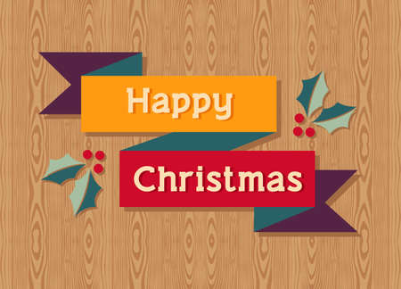Happy Christmas with mistletoe over wooden background.  illustration layered for easy manipulation and custom coloring. Vector