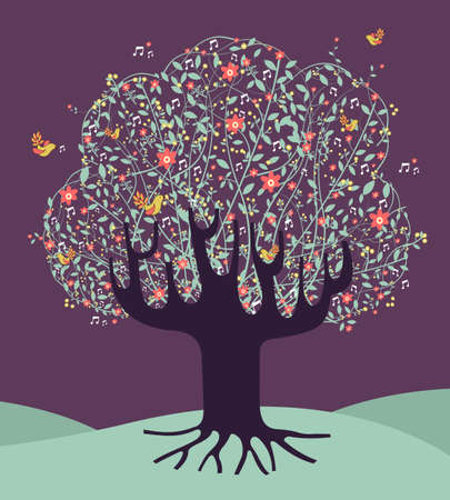 Musical spring time tree composition with flowers file layered for easy manipulation and custom coloring. Vector