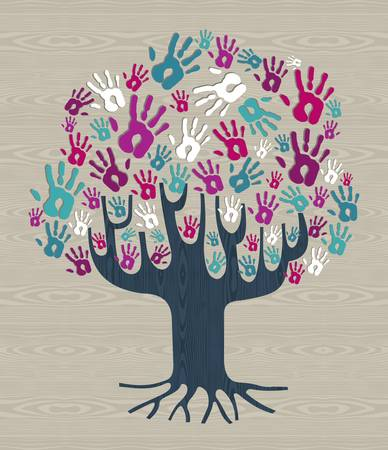 Winter colors diversity tree hands illustration for greeting card over wood pattern. file layered for easy manipulation and custom coloring. Vector