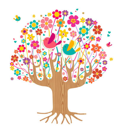 Isolated spring time tree illustration with wooden trunk. file layered for easy manipulation and custom coloring. Stock Vector - 16105332