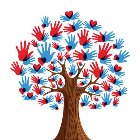 Árbol aislado manos diversidad ilustración. archivo en capas para una fácil manipulación y coloración personalizada.