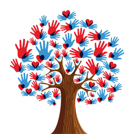 plant hand: Isolated diversity tree hands illustration.  file layered for easy manipulation and custom coloring.