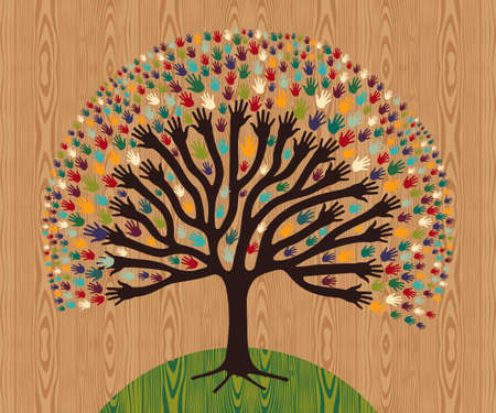 community help: Diversity tree hands illustration for greeting card over wooden pattern.  file layered for easy manipulation and custom coloring.