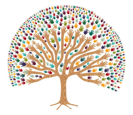 segítség: Elszigetelt sokszínűség fa kezek illusztráció üdvözlőlap. fájl réteges könnyű manipuláció és egyéni színezés. Illusztráció