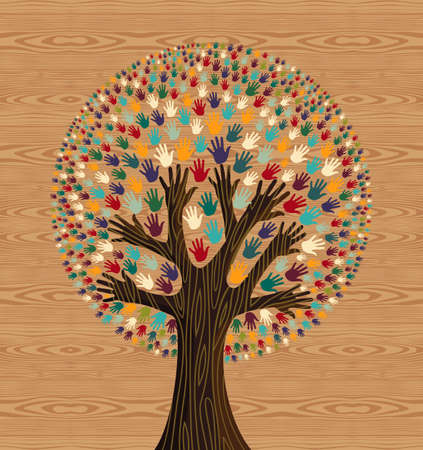 Diversity tree hands illustration over seamless wooden pattern background.  file layered for easy manipulation and custom coloring.