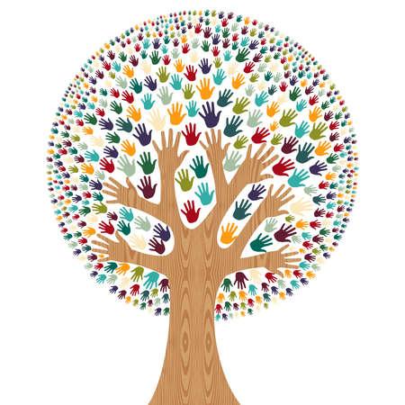 Isolé arbre diversité mains illustration pour carte de voeux. fichier en couches pour une manipulation aisée et la coloration personnalisée.