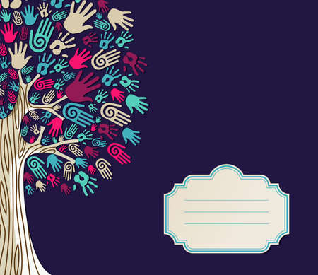 community help: Diversity tree hands illustration with blank for text greeting card template.  file layered for easy manipulation and custom coloring. Illustration