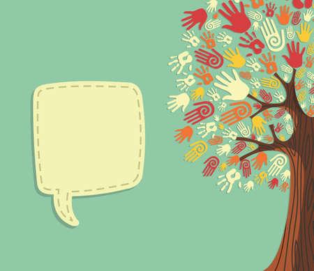 segítség: Sokféleség fa kezet illusztráció üres szöveg üdvözlőkártya sablon. fájl rétegű könnyű manipuláció és egyedi színek.