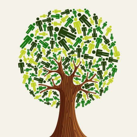 renewable resources: Eco friendly tree with green people illustration.  file layered for easy manipulation and custom coloring.