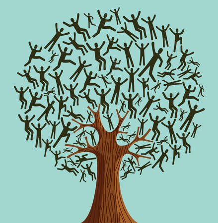 Isolated Diversity tree people illustration. file layered for easy manipulation and custom coloring.