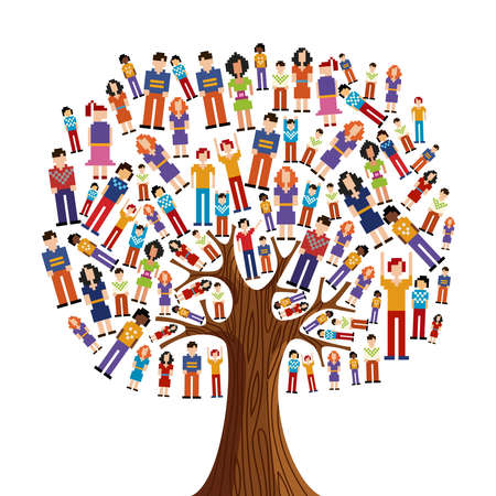 asian business meeting: Isolated diversity tree with pixelated people illustration. file layered for easy manipulation and custom coloring. Illustration