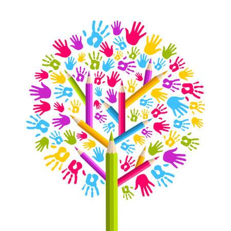 community people: Diversit� isolato nel concetto eductaion albero illustrazione mani. file con livelli per una facile manipolazione e la colorazione personalizzata.