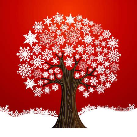 arbol genealógico: Copos de nieve blanca del árbol de navidad sobre fondo rojo. ilustración en capas para la manipulación fácil y colorante de encargo.