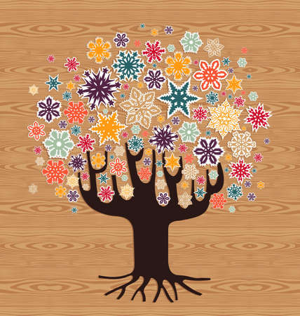 Multicolored stickers Christmas snowflakes tree over wooden seamless pattern background.  illustration layered for easy manipulation and custom coloring. Vector