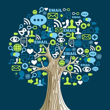 contact info: Albero rete sociale con icone dei media foglie. illustrazione a strati per una facile manipolazione e la colorazione personalizzata.