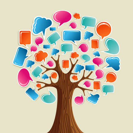 Social network tree with glossy speech bubbles leaves. illustration layered for easy manipulation and custom coloring. Vector